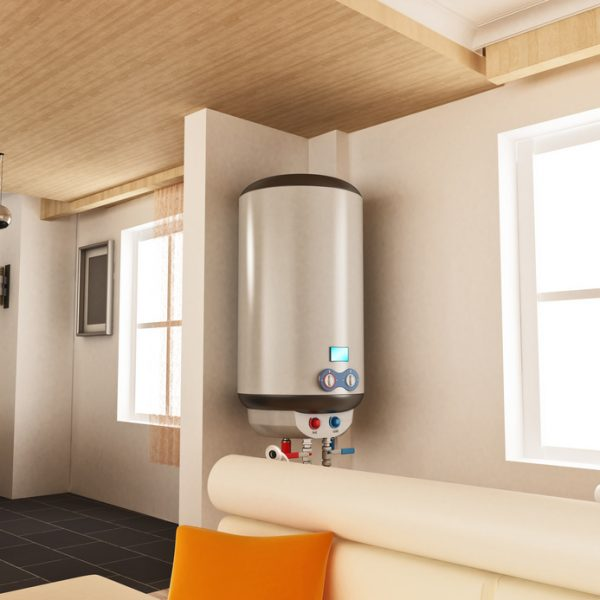 Water heater hanging on the wall. 3D illustration.